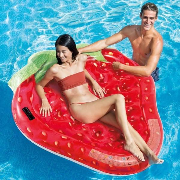 INTEX Strawberry Isand 168x142cm Badeinsel Luftmatratze Wasserliege Schwimmliege