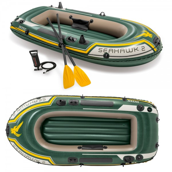 INTEX Seahawk 2 Set Schlauchboot + Paddel + Pumpe Angelboot Ruderboot 2 Personen