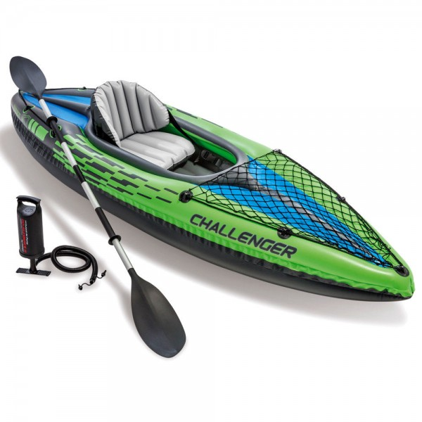 INTEX Challenger K1 Kajak Set Schlauchboot + Paddel + Pumpe für 1 Person
