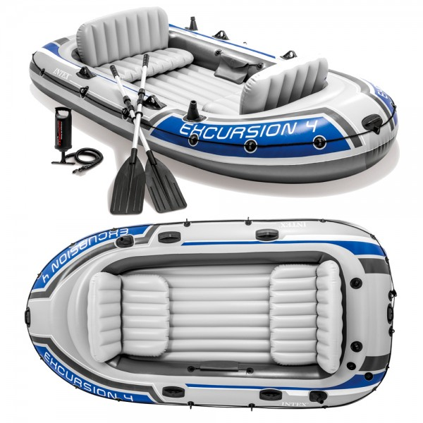 INTEX Excursion 4 Set Schlauchboot + Paddel + Pumpe Angelboot für 4 Personen