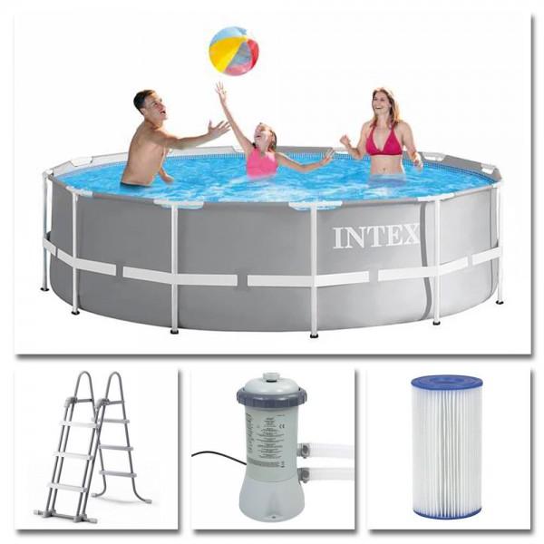 INTEX Komplettset Prism Frame Pool Ø 366x99 cm + Filterpumpe Swimmingpool