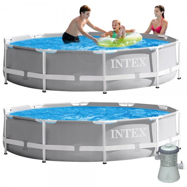 INTEX Prism Frame Swimming Pool mit Pumpe 305x76cm Schwimmbecken Stahlrohrbecken