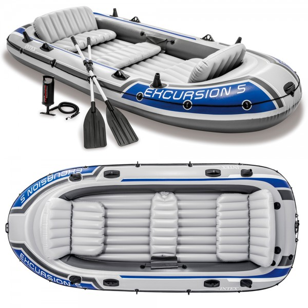 INTEX Excursion 5 Set Schlauchboot + Paddel + Pumpe Angelboot für 5 Personen