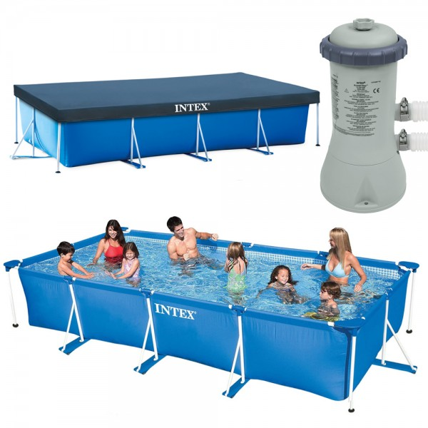INTEX Family Swimming Pool Frame 450x220x84cm + Poolpumpe 3407l/h + Abdeckplane