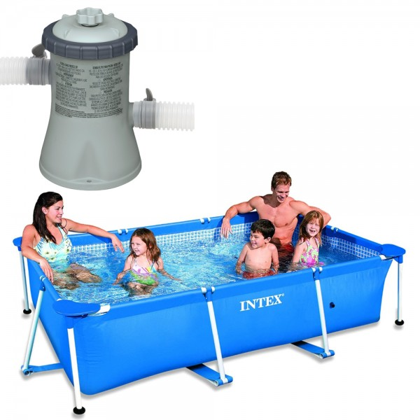 INTEX Schwimmbecken Family Swimming Pool Frame 220x150x60cm + Poolpumpe 1250l/h