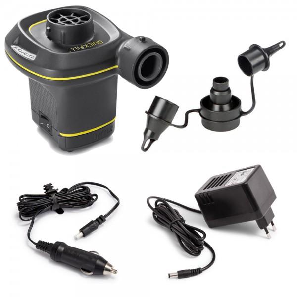INTEX Quick Fill Elektrische Luftpumpe für 12V und 230V + 3 verschiedene Adapter