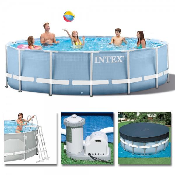 INTEX Komplettset Prism Frame Pool Ø 549x122 cm + Filterpumpe Swimmingpool
