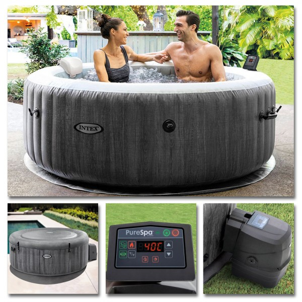 INTEX Whirlpool Greywood Deluxe Pure SPA 196x71 Massage 4 Personen Kalkschutz
