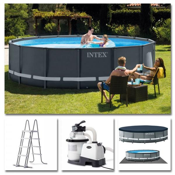INTEX Komplettset Ultra XTR Frame Pool Ø 488x122cm + Sandfilter Swimmingpool