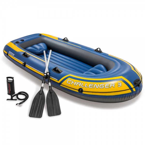 INTEX Challenger 3 Set Schlauchboot + Paddel + Pumpe Angelboot 3 Personen