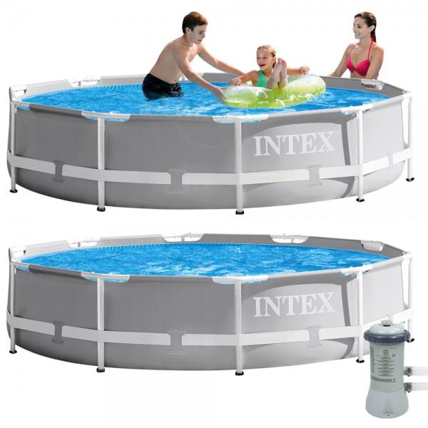INTEX Prism Frame Swimming Pool mit Pumpe 366x76cm Schwimmbecken Stahlrohrbecken