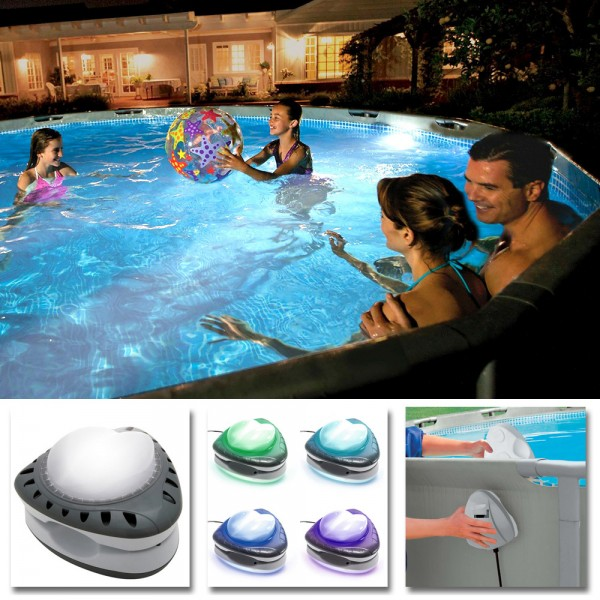 INTEX Magnetische Poolleuchte LED Poolbeleuchtung Poollicht Poollampe mehrfarbig