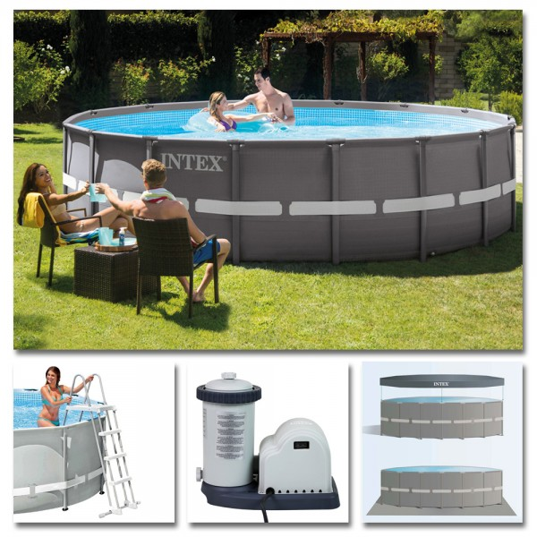 INTEX Komplettset Ultra Frame Pool Ø 488x122cm + Filterpumpe Swimmingpool