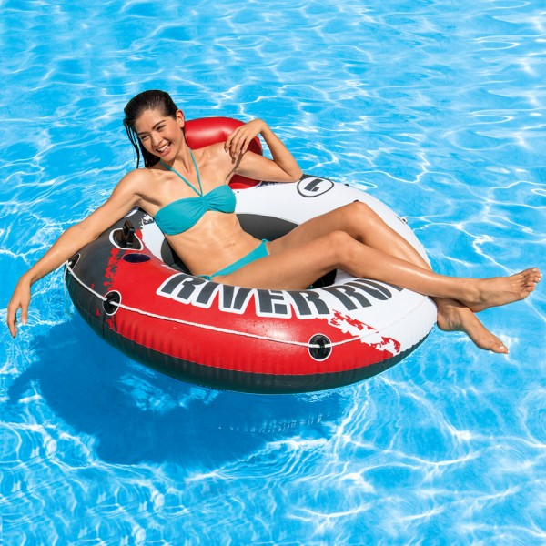 INTEX River Run Fire Edition Badespaß Badeinsel Luftmatratze Schwimmring 135cm