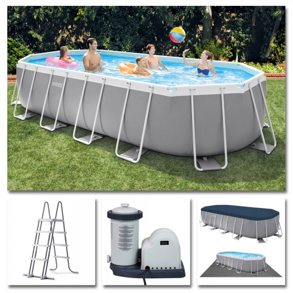 INTEX Komplettset Prism Frame Oval Pool 503x274cm + Filterpumpe Swimmingpool