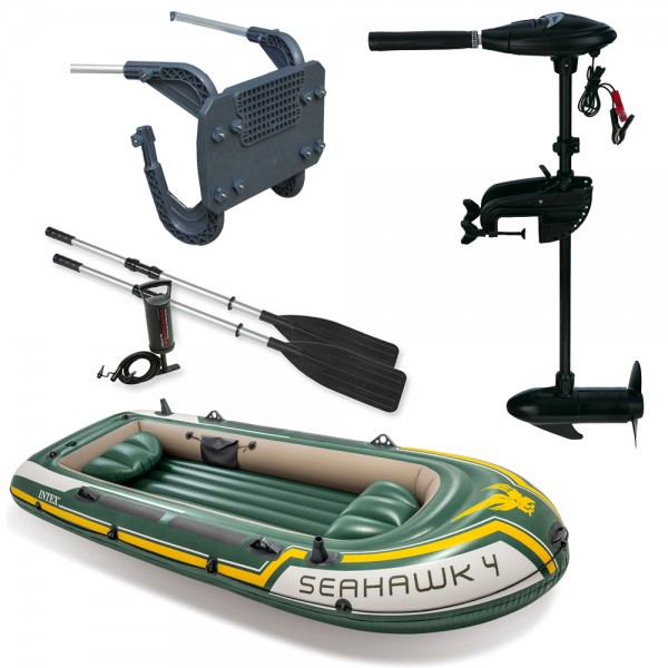 SET INTEX Seahawk 4 Schlauchboot Angelboot + Aussenbordmotor + Heckspiegel