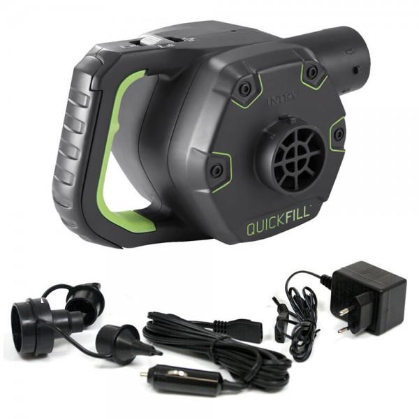 INTEX Quick Fill Elektrische Luftpumpe aufladbar mit Akku + 12V + 230V 3 Adapter