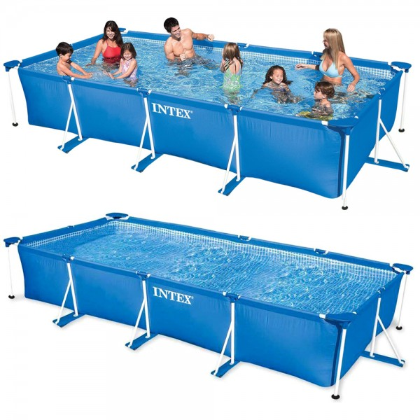 INTEX Family Swimming Pool Frame 450x220x84cm Schwimmbecken Planschbecken