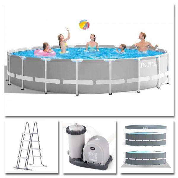 INTEX Komplettset Prism Frame Pool Ø 549x122cm + Filterpumpe Swimmingpool