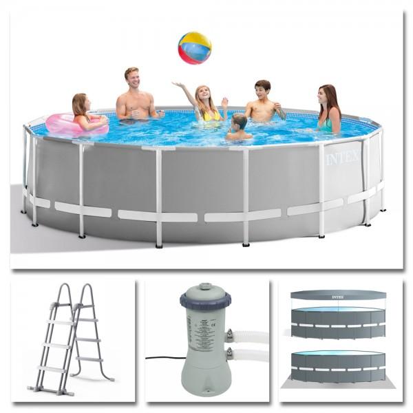 INTEX Komplettset Prism Frame Pool Ø 457x107cm + Filterpumpe Swimmingpool