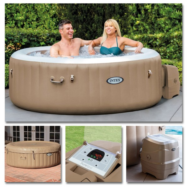INTEX Whirlpool Pure SPA 196x71 Bubble Massage für 4 Personen Kalkschutz