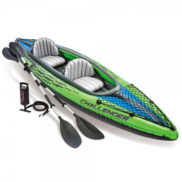 INTEX Challenger K2 Kajak Set Schlauchboot + Paddel + Pumpe für 2 Personen
