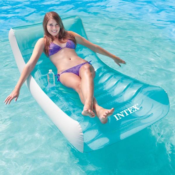INTEX Rockin Lounge Schwimmliege Luftmatratze Badeinsel + Getränkehalter