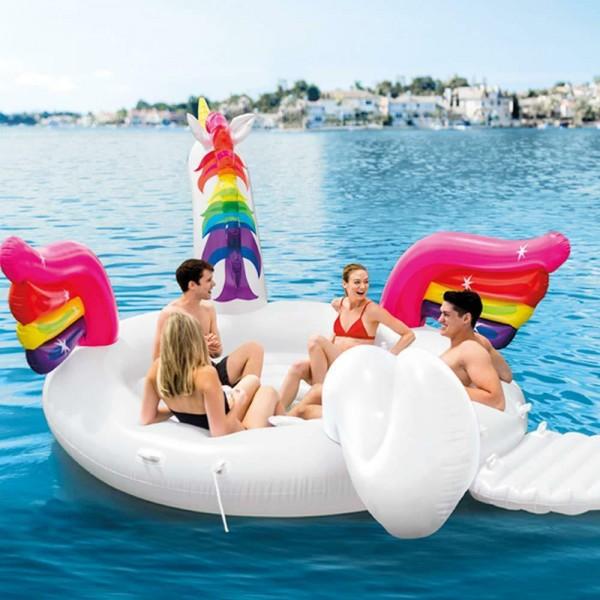 INTEX Party Insel Schwimmtier Unicorn Einhorn XXL Badeinsel Schwimmliege