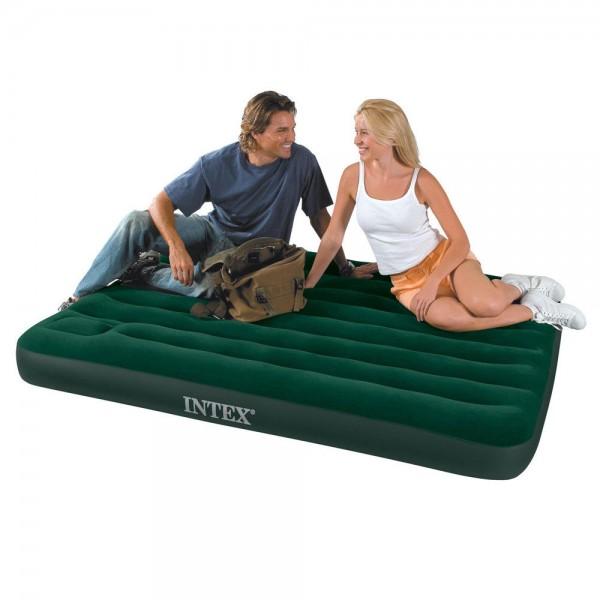 INTEX Camping Single Luftbett Gästebett 191x137x22cm + integrierte Fusspumpe