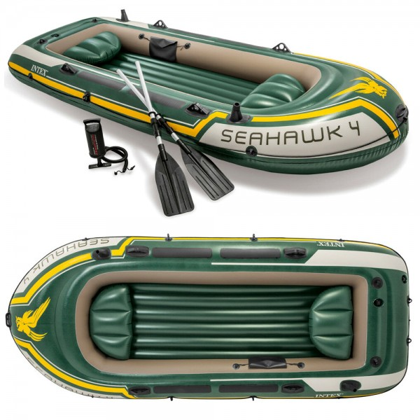 INTEX Seahawk 4 Set Schlauchboot + Paddel + Pumpe Angelboot Ruderboot 4 Personen
