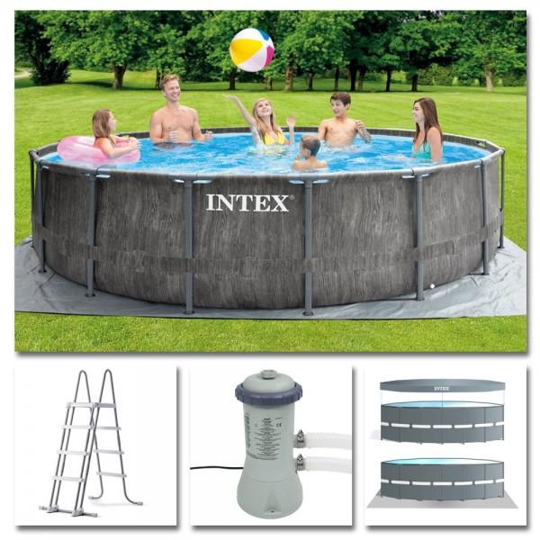 INTEX Komplettset Prism Frame Pool Greywood Ø 457x122cm Filterpumpe Swimmingpool