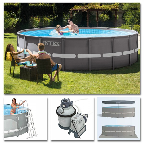 INTEX Komplettset Ultra Frame Pool Ø 488x122cm + Sandfilteranlage Swimmingpool